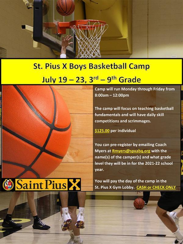Boys basketball camp flyer