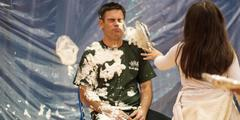 Mr. Johnson getting pied in the face for United Way Fundraising