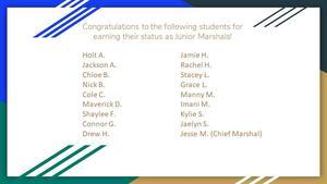 2020 Junior Marshals at Newton-Conover High School