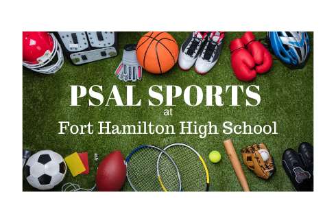 PSAL at Fort Hamilton High School, Green turf and around the edges sports equipment, fooball helmet, soccer ball, basketball, tennis rackets