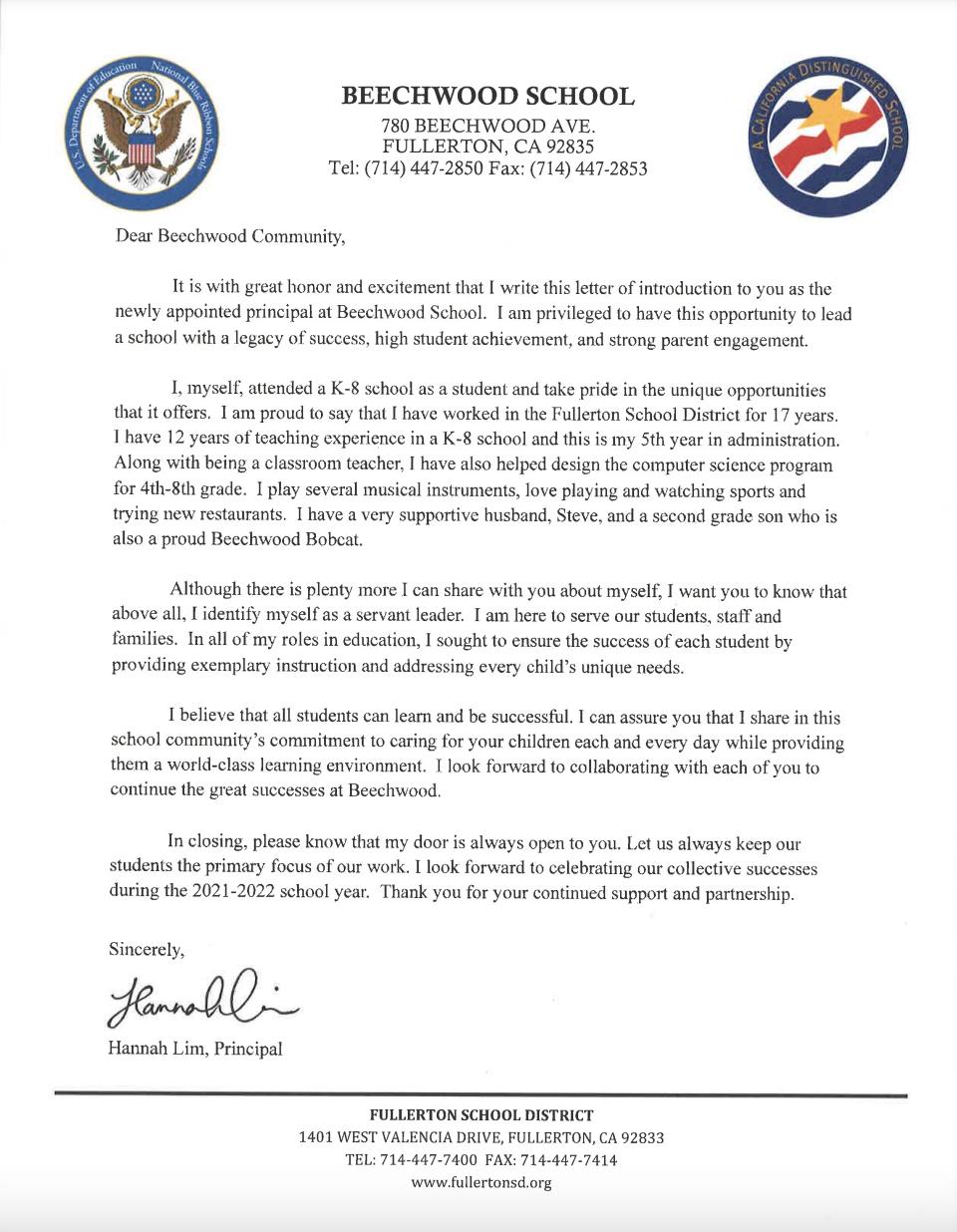 Principal Introduction Letter