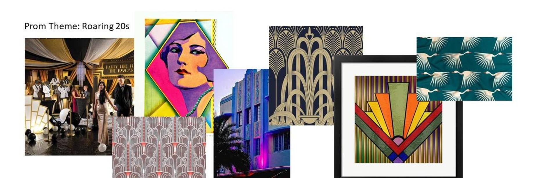 Winning Prom Theme: Roaring 20s; Images featuring a party decorated in 20s decor, a multi colored woman with purple hair; another image has a stained glass window with art deco geometric shapes; several images are of art deco style wall paper--one with flying flamingos that look like palm fronds; one image is of a building that is in the art deco style that is lit up with pink and purple lights.