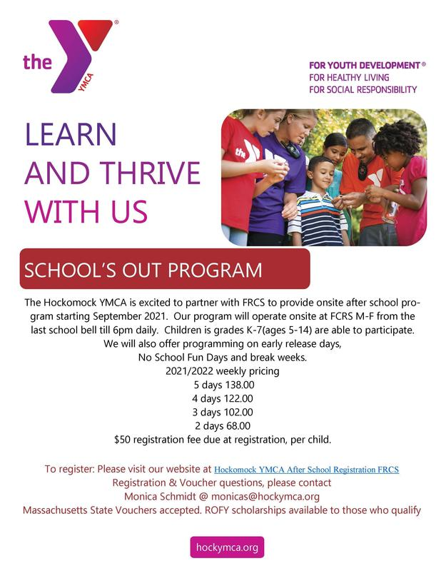 Hockomock Area YMCA to Host Two Information Sessions About New Afterschool Childcare Program at FRCS Featured Photo
