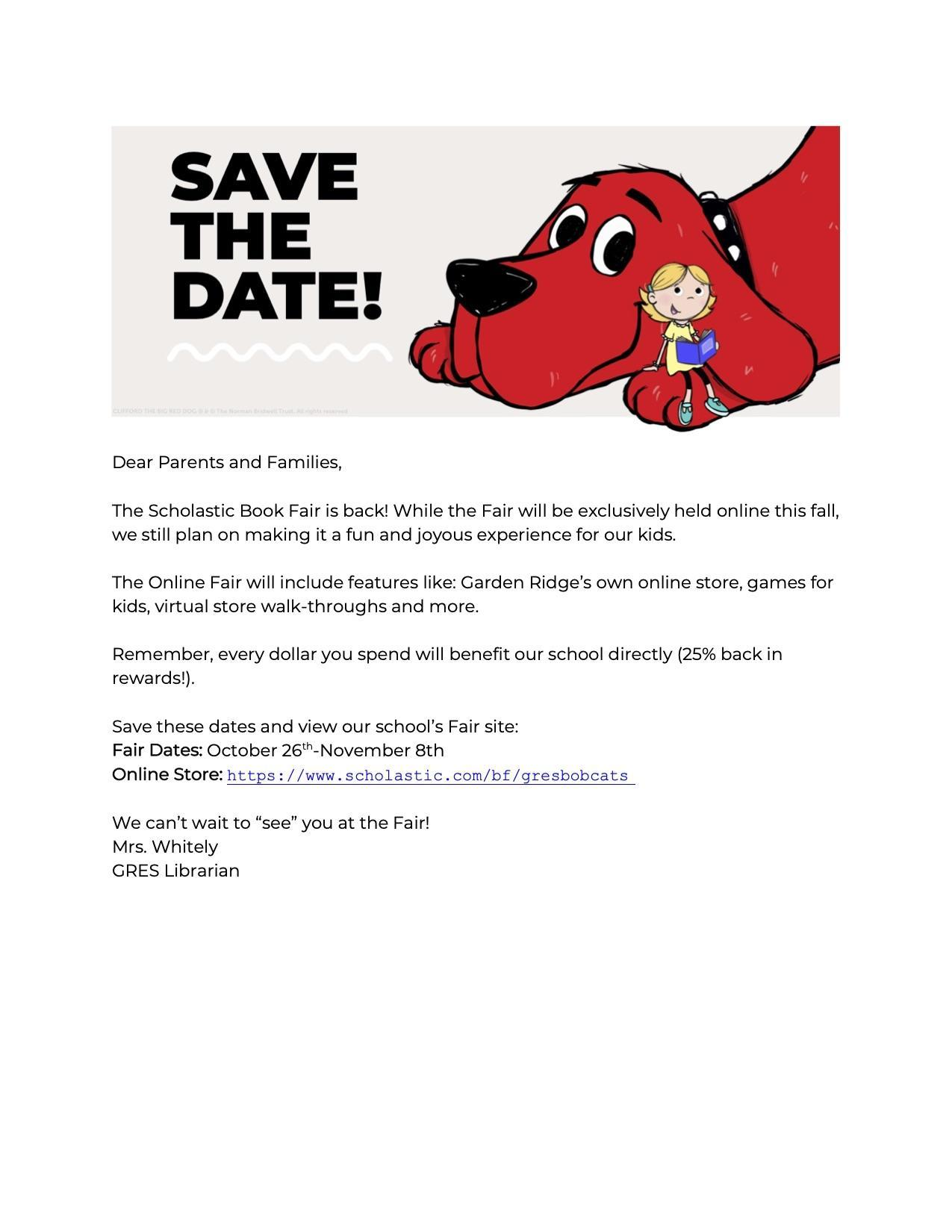 Save the Date for the Book Fair