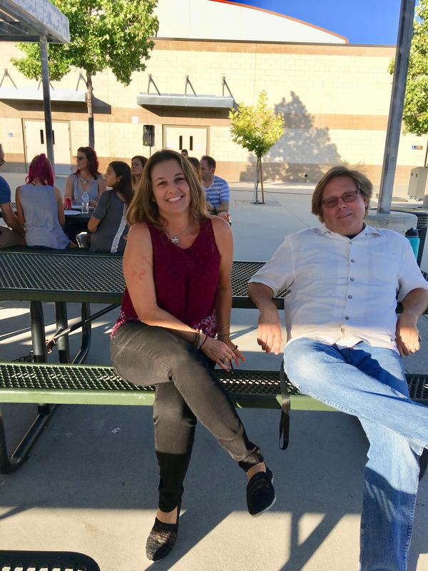 Mr. Gilbert and Ms. Groller enjoying the BBQ!