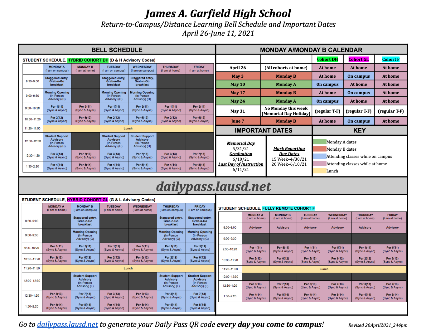 2021 Return to Campus Bell Schedule and Important Dates