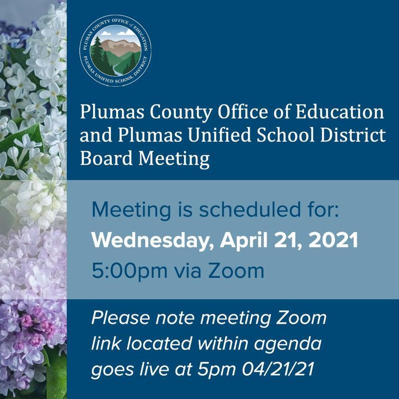 PCOE Board Meeting Agenda 4/21/21 announcement