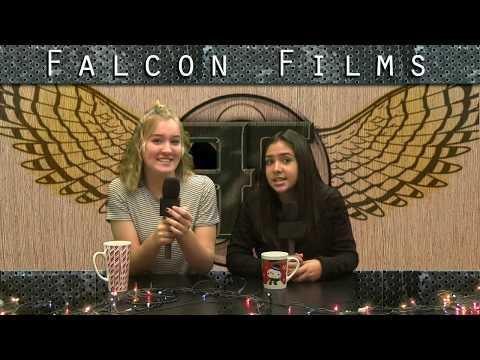 This is a screenshot of 2 Falcon Films news anchors reading the morning announcements.