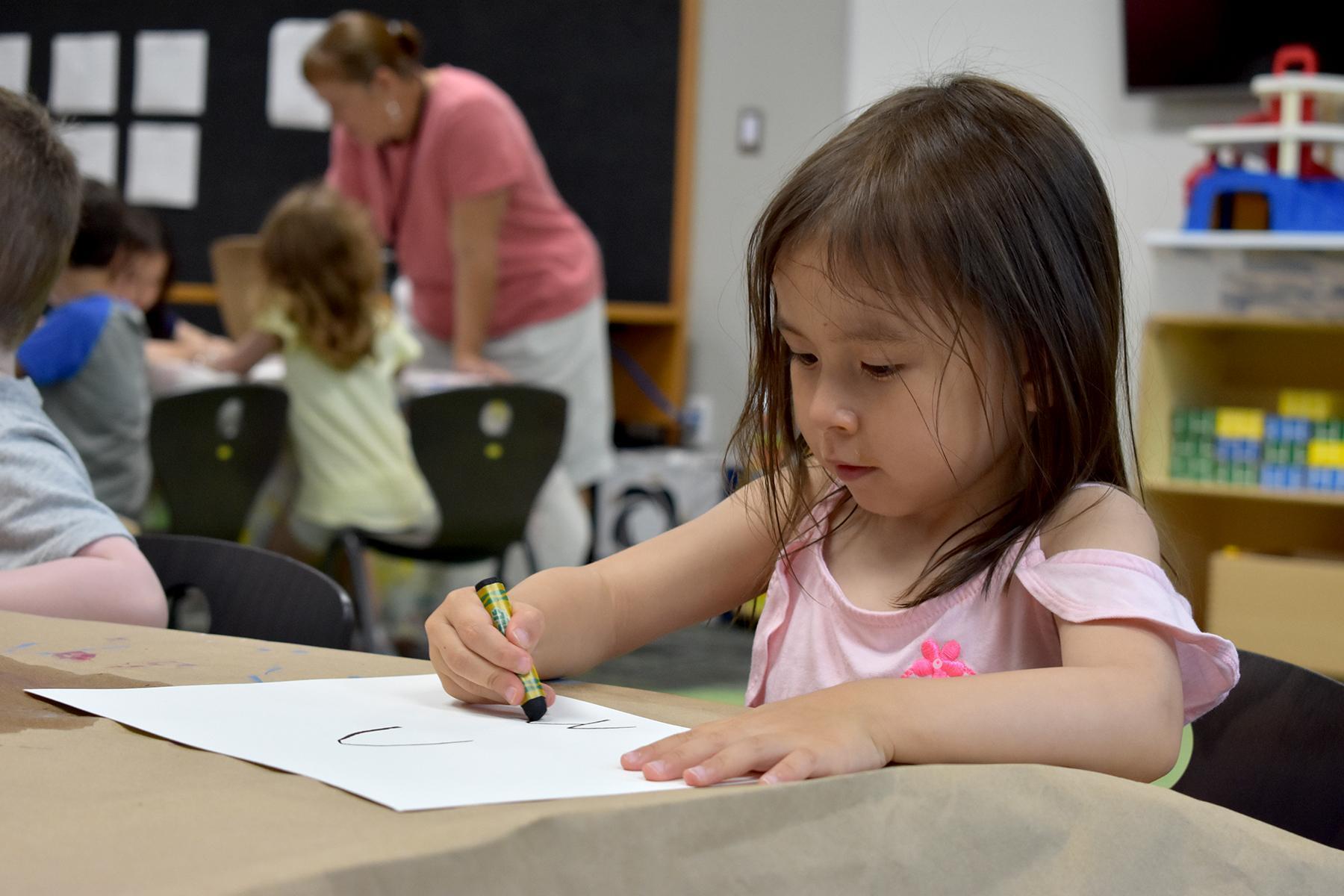 Pre-K Student in art class