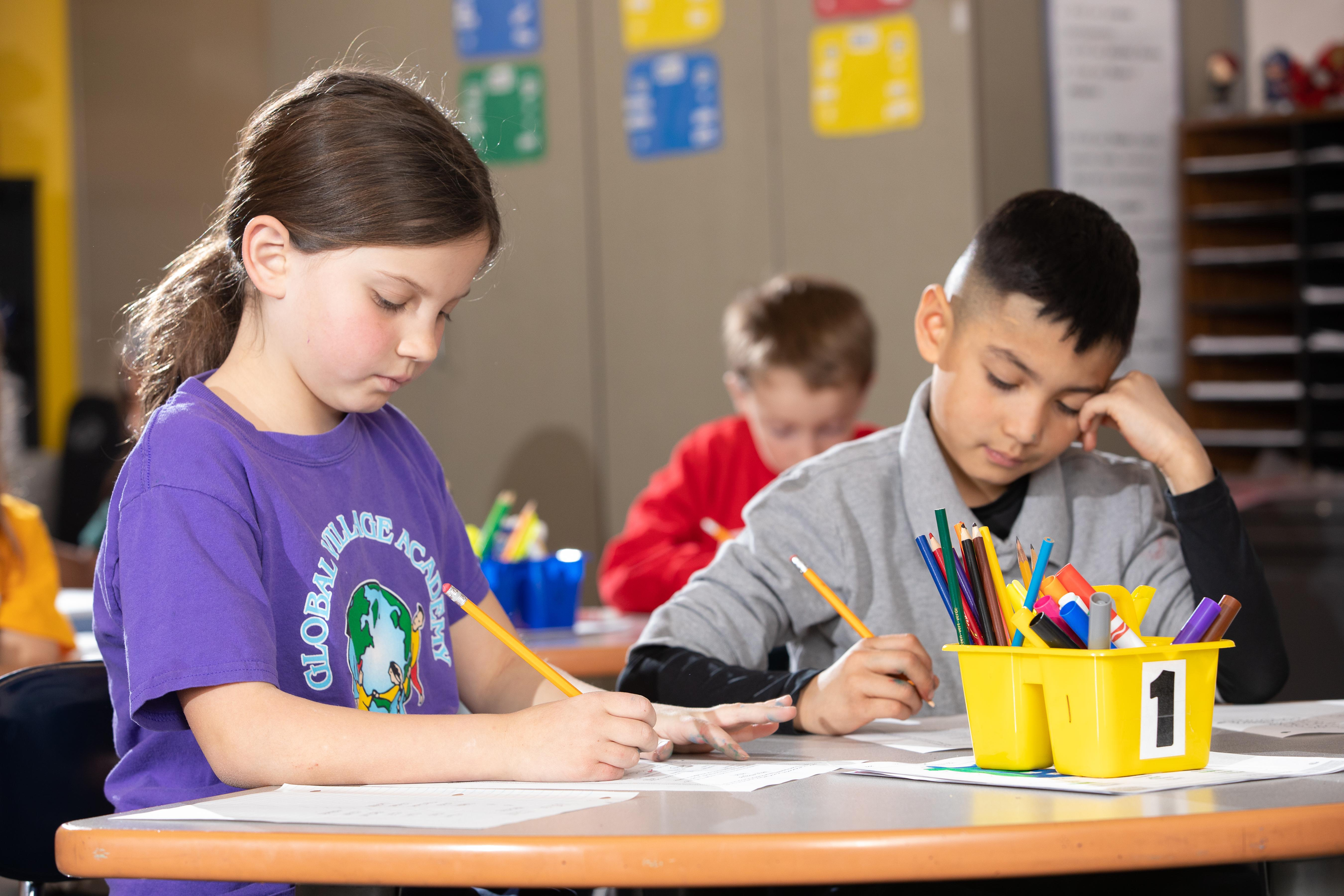 students in a classroom working