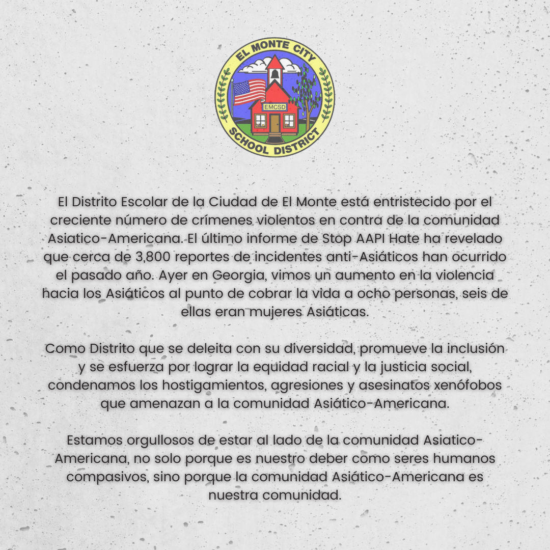 Graphic of EMCSD statement against Anti-Asian hate in Spanish