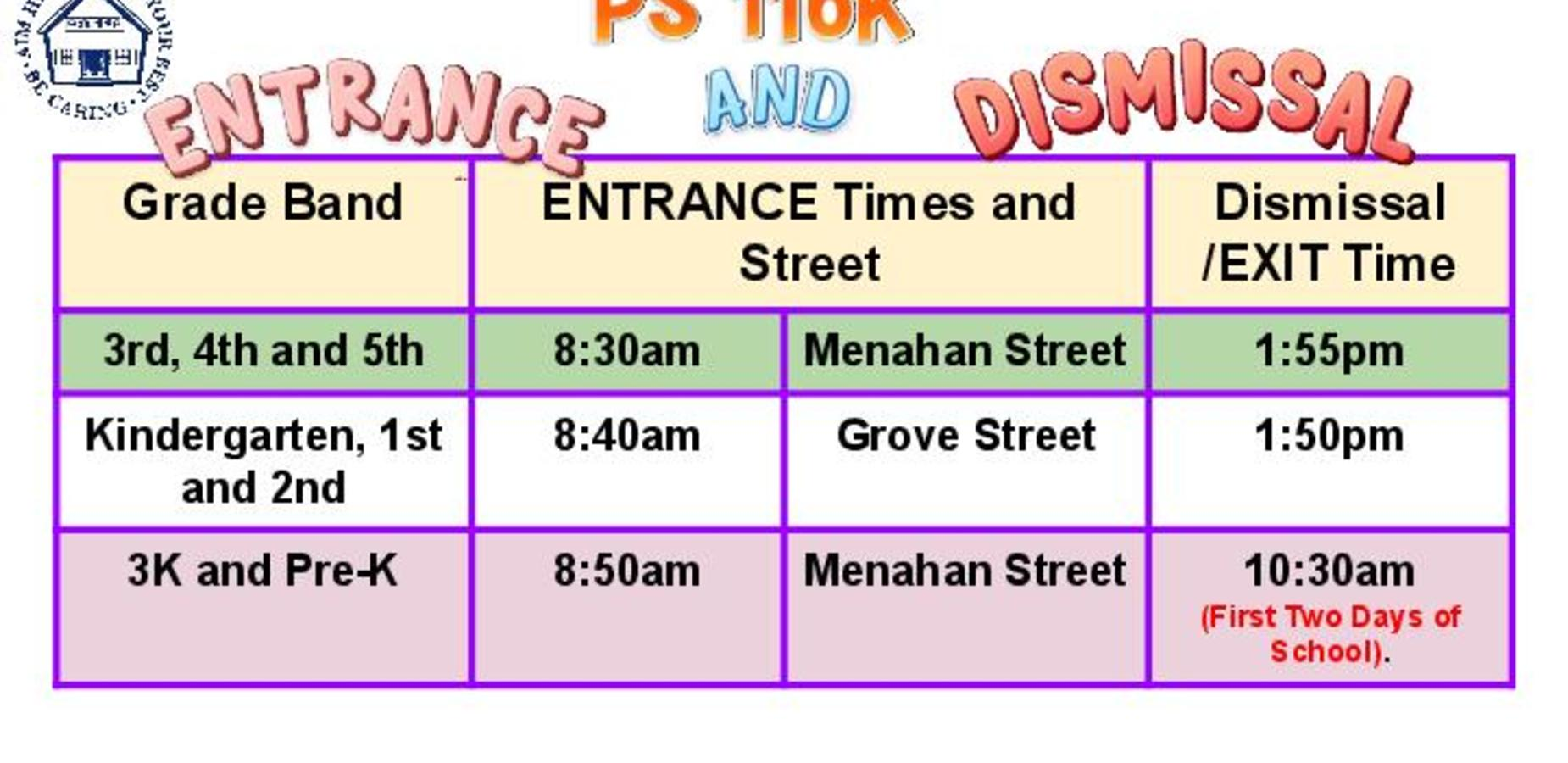 Entrance and Dismissal Schedule