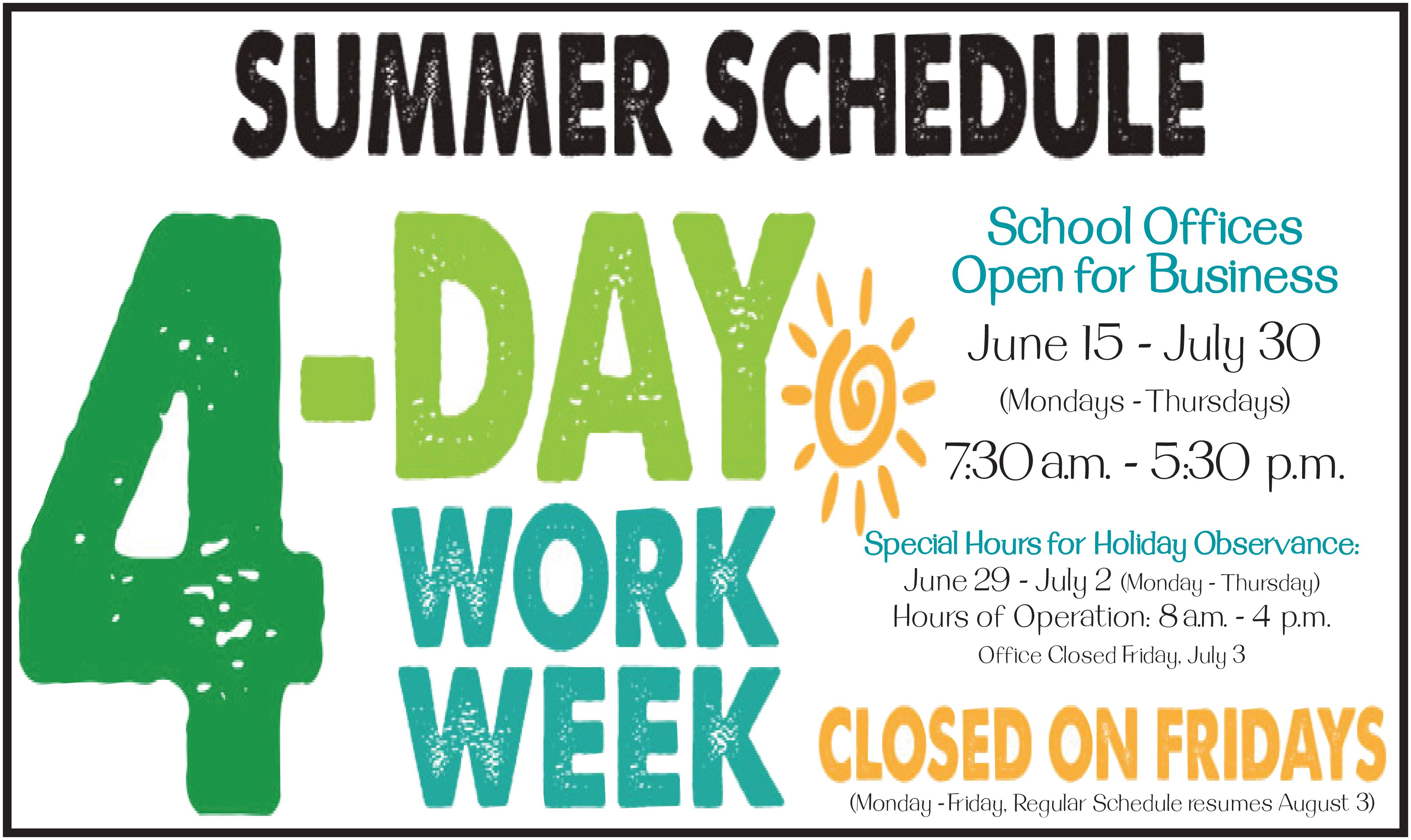Summer hours english