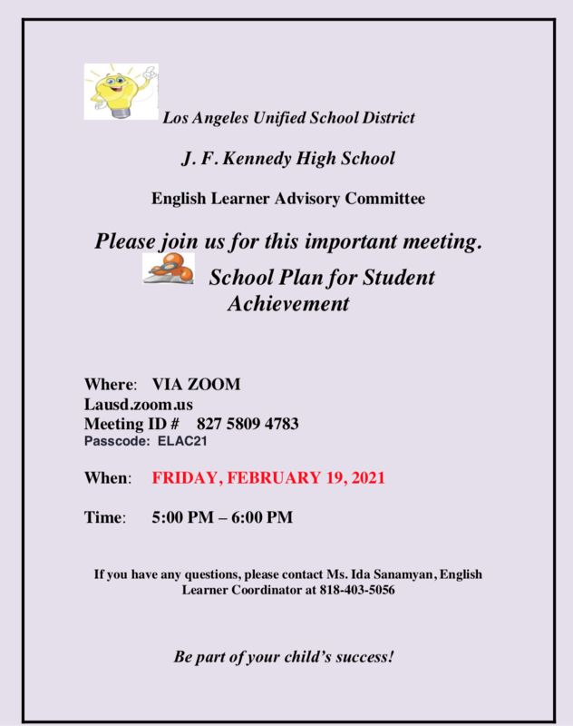 Please Join this Friday's ELAC Meeting! Featured Photo