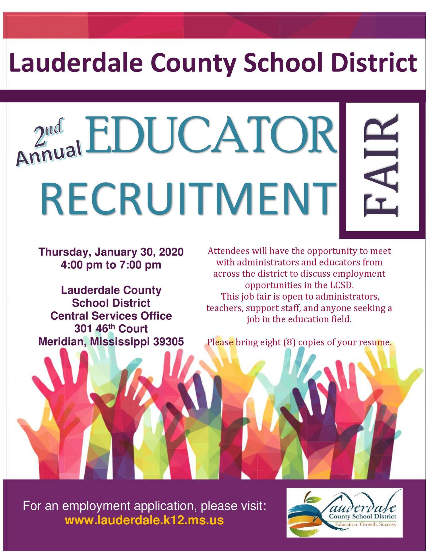 2020 LCSD Educator Recruitment Fair Flyer