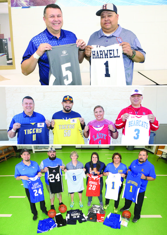 Edinburg CISD athletic coaches display some of the sports equipment they received for their middle school athletics programs thanks to the Justin J. Watt Foundation.