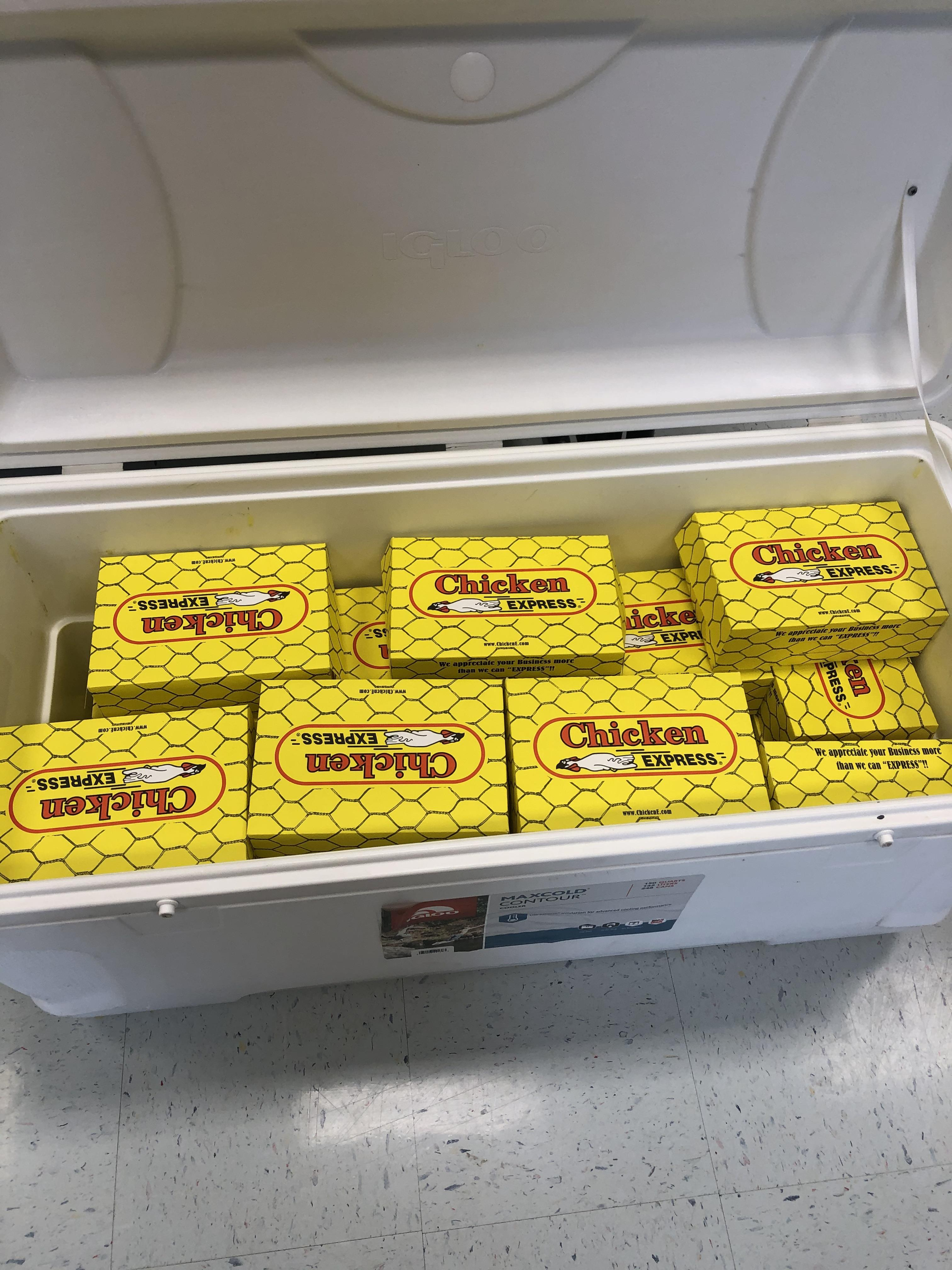 Cooler of meals from Chicken E