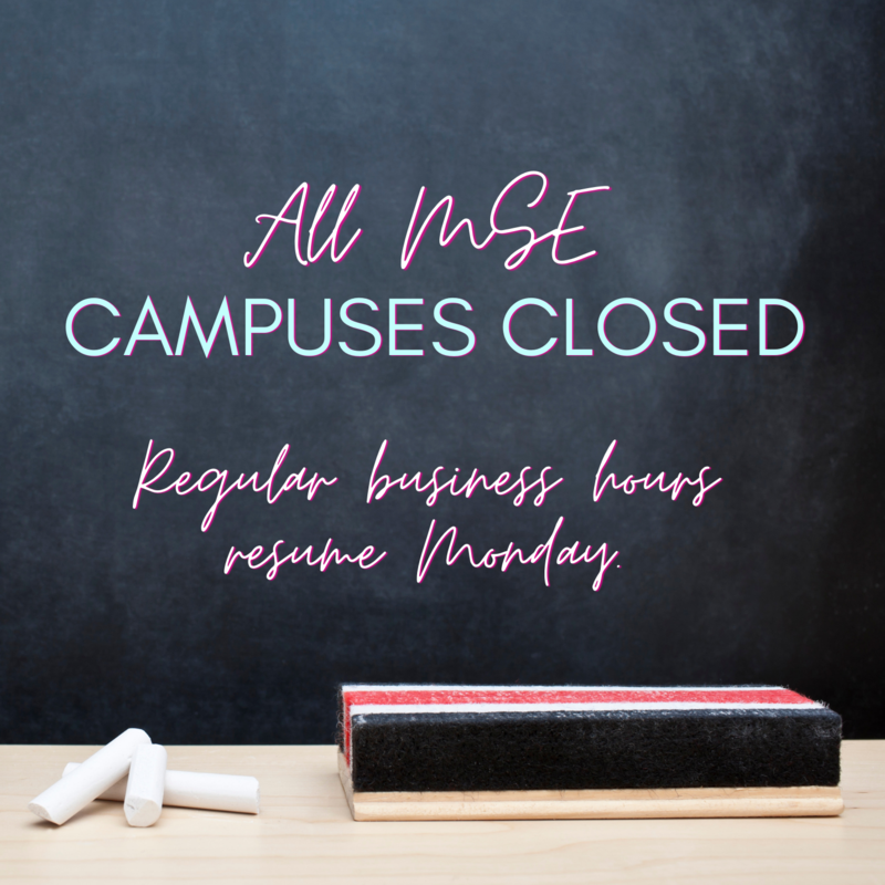 Campuses closed for the remainder of the day. Regular business hours resume Monday.