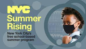 NYC Free Summer Camp Banner with Female child wearing mask