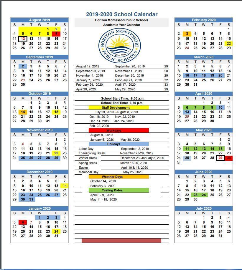 2019/2020 School Year Calendar