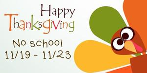 happy thanksgiving no school dates