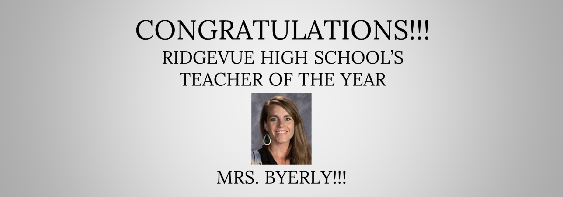 Teacher of the Year Tegan Byerly