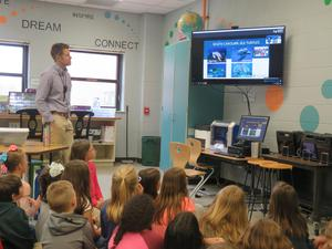 Mr. Fischer's second-grade class enjoys a lesson from South Carolina about sea turtles.
