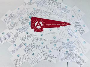 Chick-fil-A Laedership Program students took time to write notes of gratitude for deployed service members