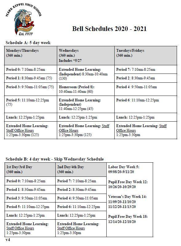 Bell schedule page 1