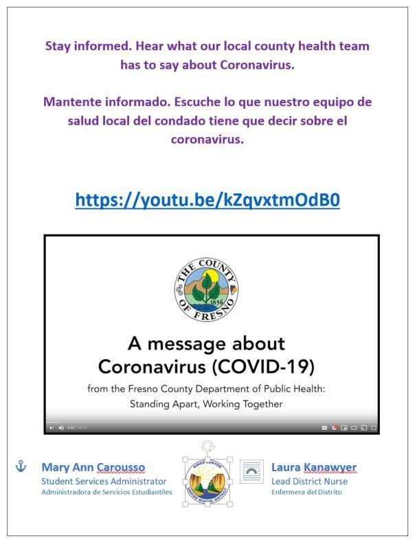 Stay informed. Hear what our local county health team has to say about Coronavirus.  Mantente informado. Escuche lo que nuestro equipo de salud local del condado tiene que decir sobre el coronavirus.   https://youtu.be/kZqvxtmOdB0