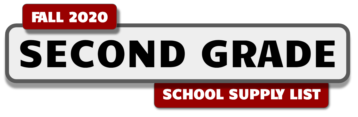 Banner with message: Gr. 2 School Supply List for Fall 2020