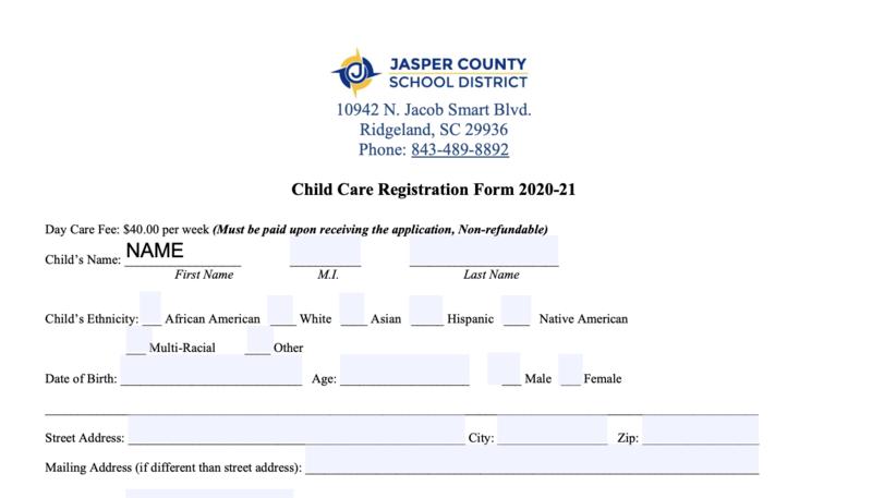 Child Care form