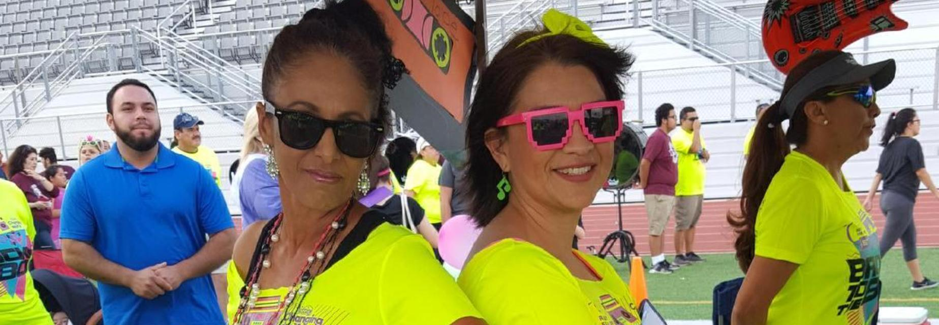 Staff dressed up for 80s theme at Relay for Life