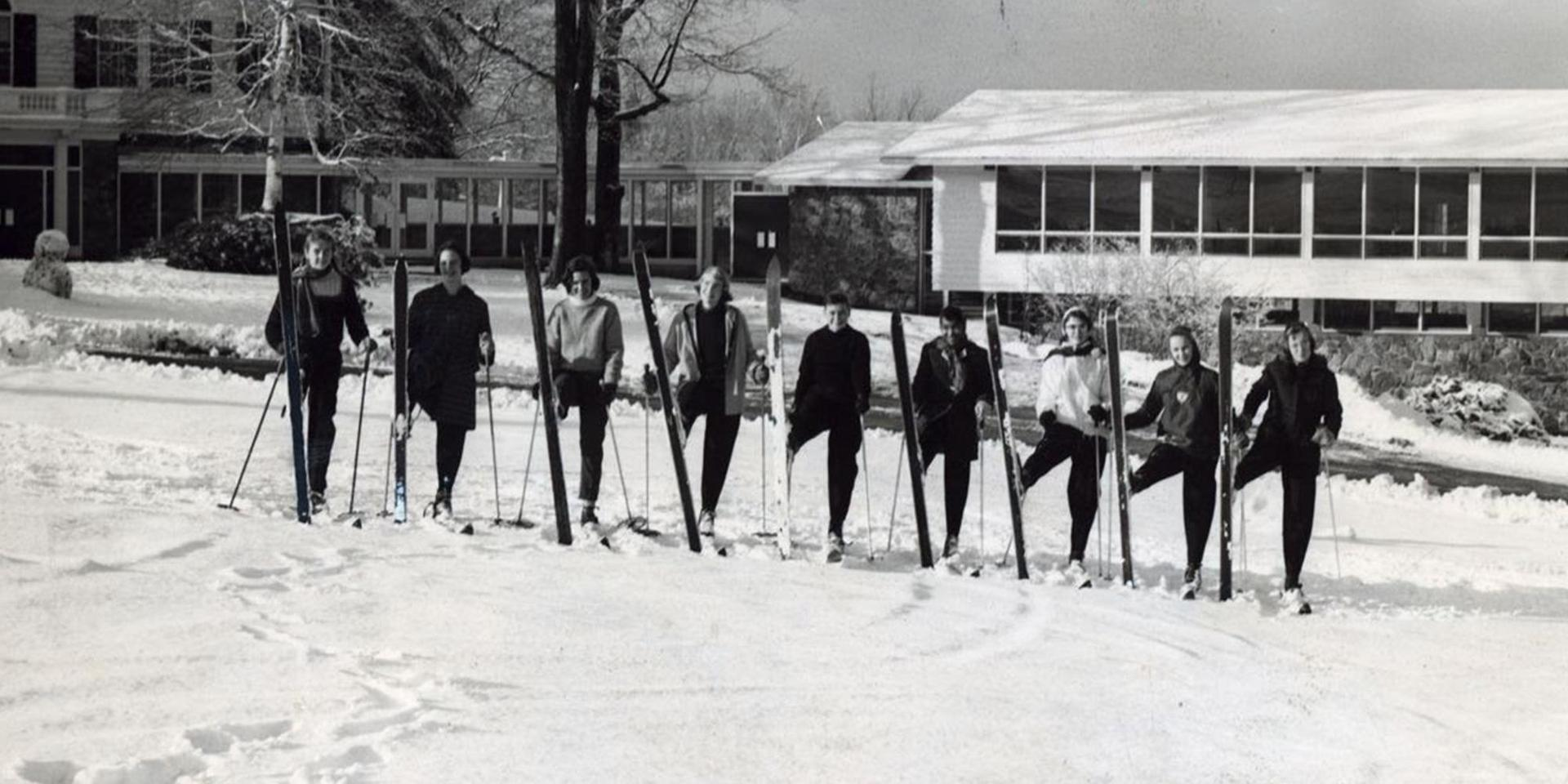 Students in skis on Hood's Hill.