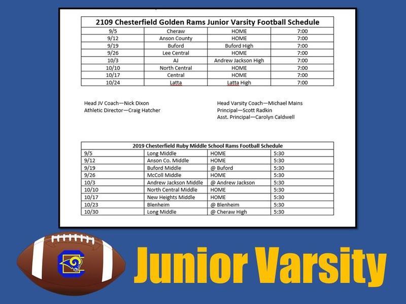 2019-20 Junior Varsity Football Schedule Featured Photo