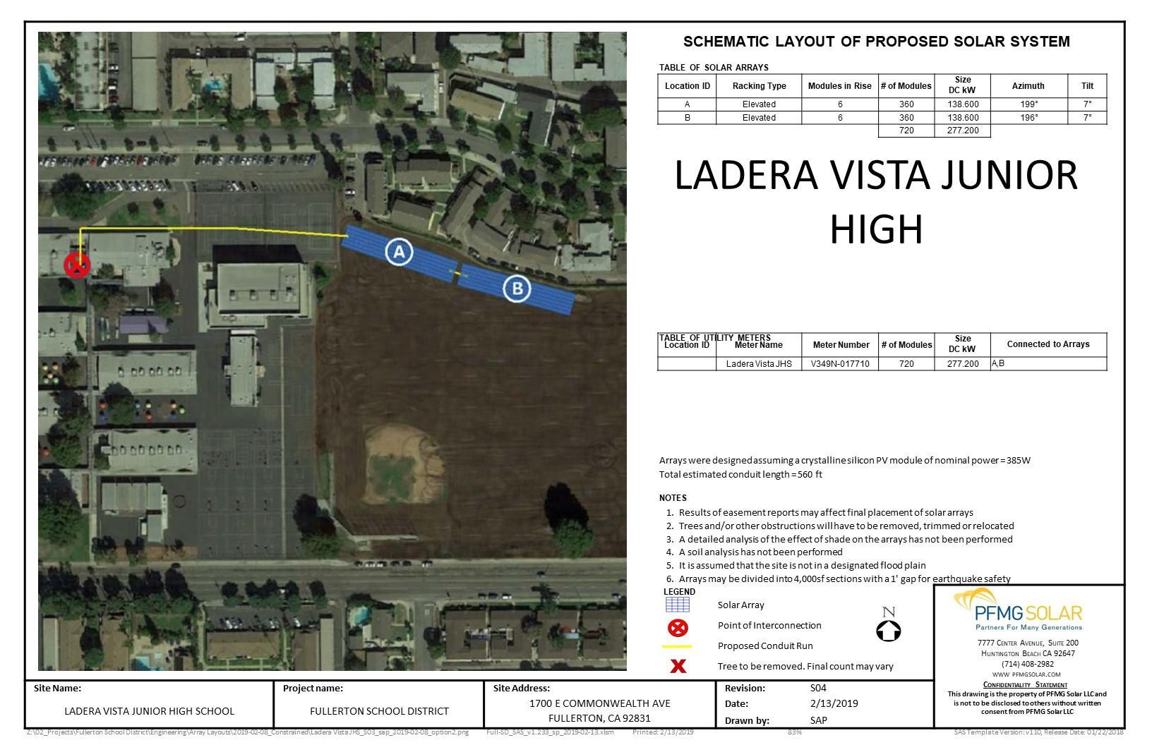 Ladera Vista Junior High Schematic Layout of Proposed Solar System