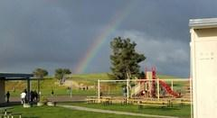 rainbow over playground