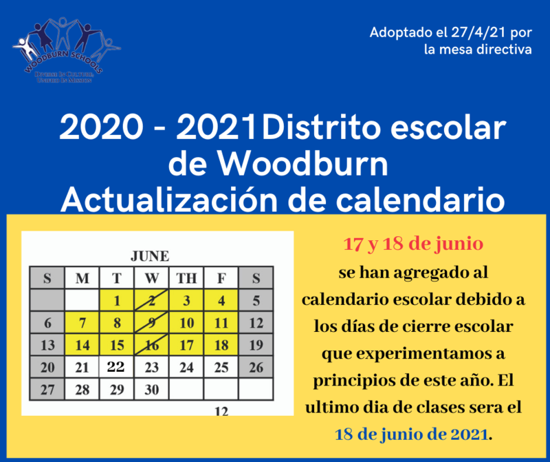 Actualización del calendario del distrito escolar de Woodburn Featured Photo