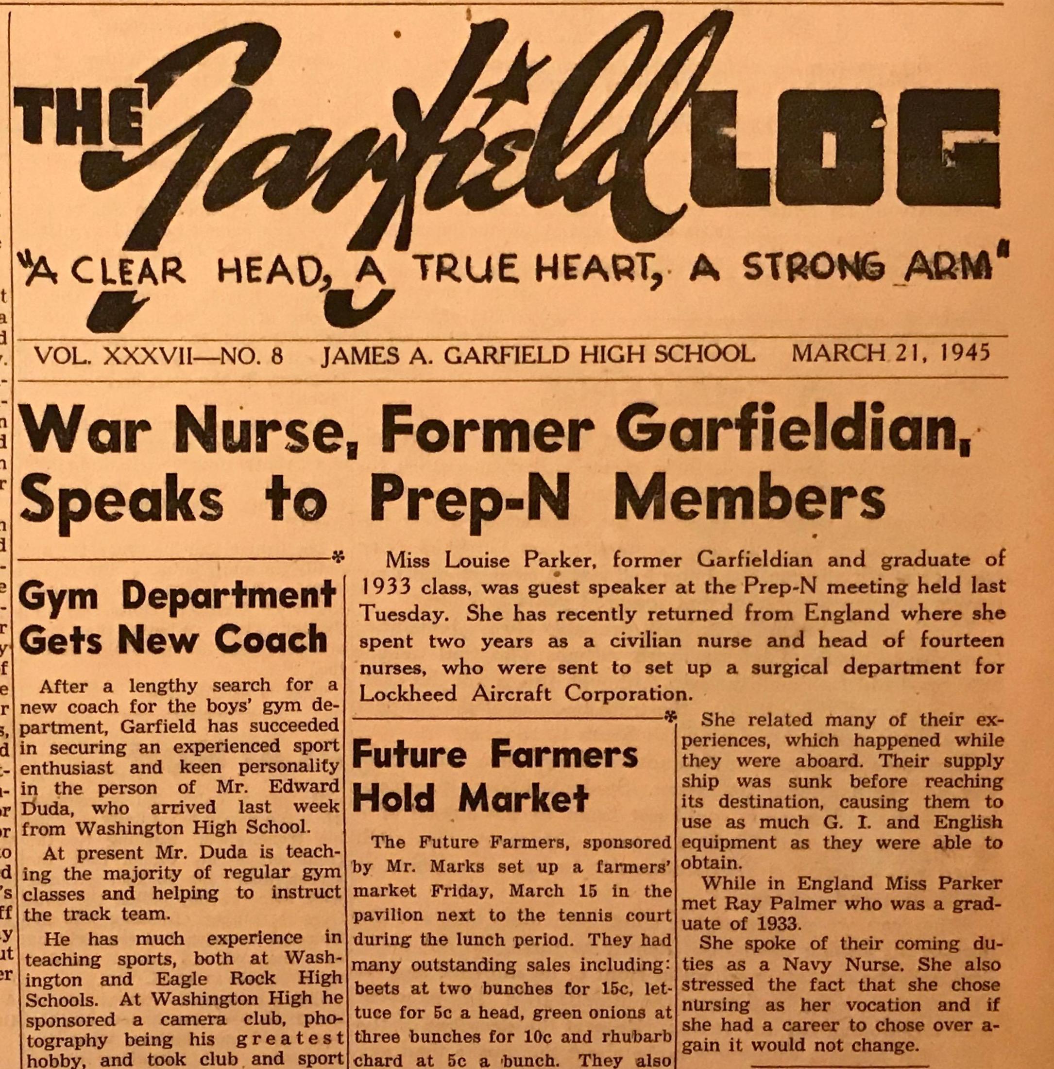 War Nurse speaks at Garfield