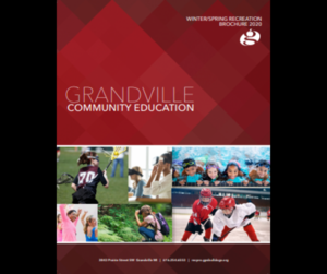 Community Ed brochure cover in maroon with photos of recreational opportunities