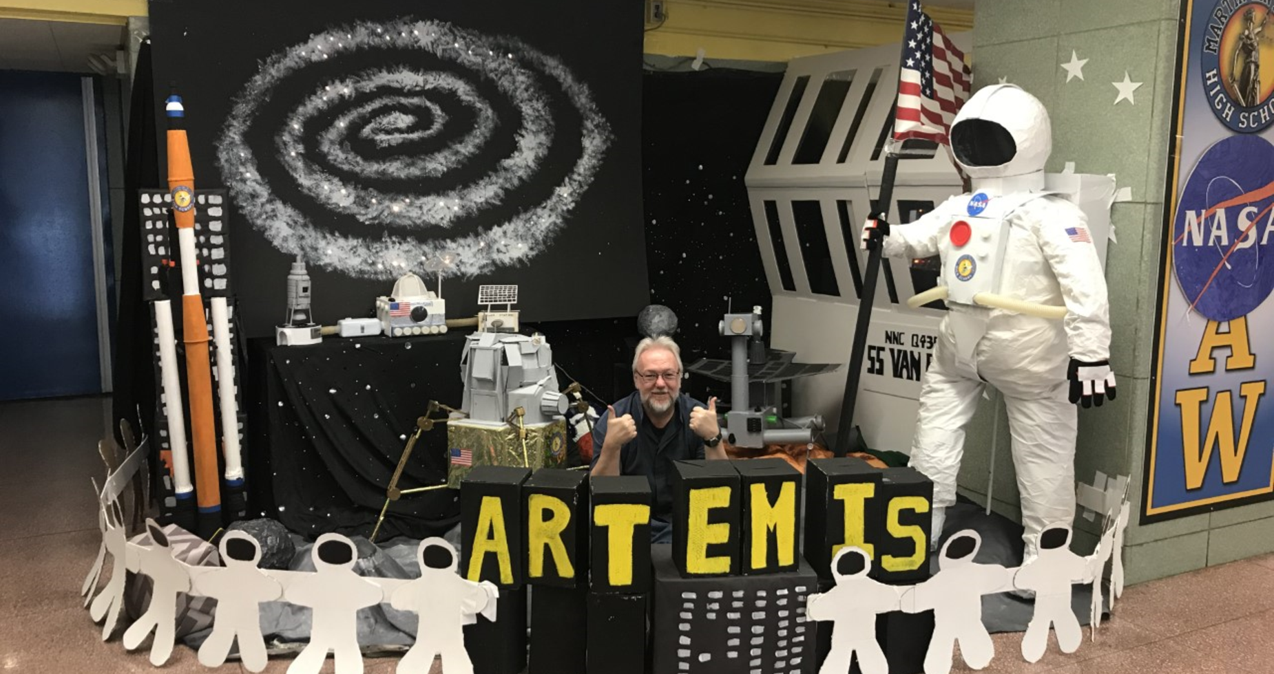 Mr. Cuneen's Art Club Amazing Space Creations. Thank you Mr. Cuneen and the Art Club!.
