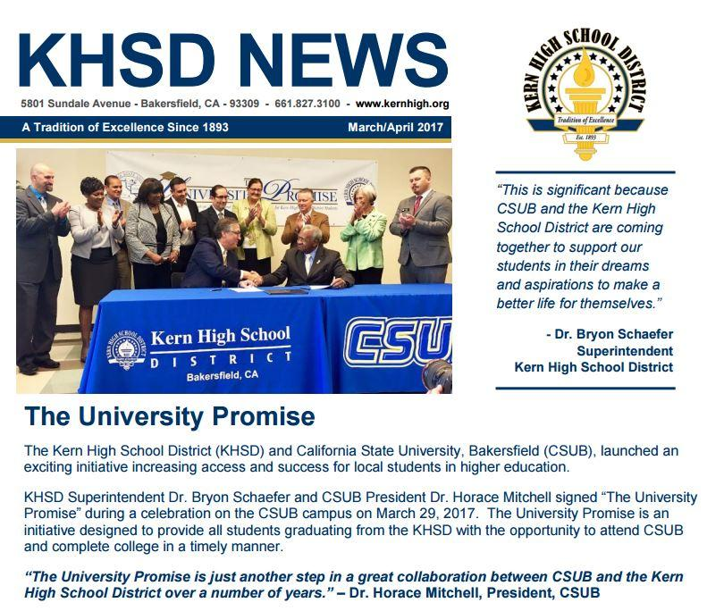 Front Page of KHSD News