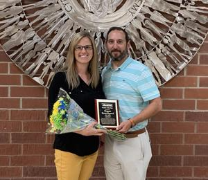 Megan Boutchyard, left, is Busbee Creative Arts Academy's Teacher of the Year (shown here with Assistant Principal Sam Masone). Lexington Two recently announced all of the school-level Teachers of the Year.