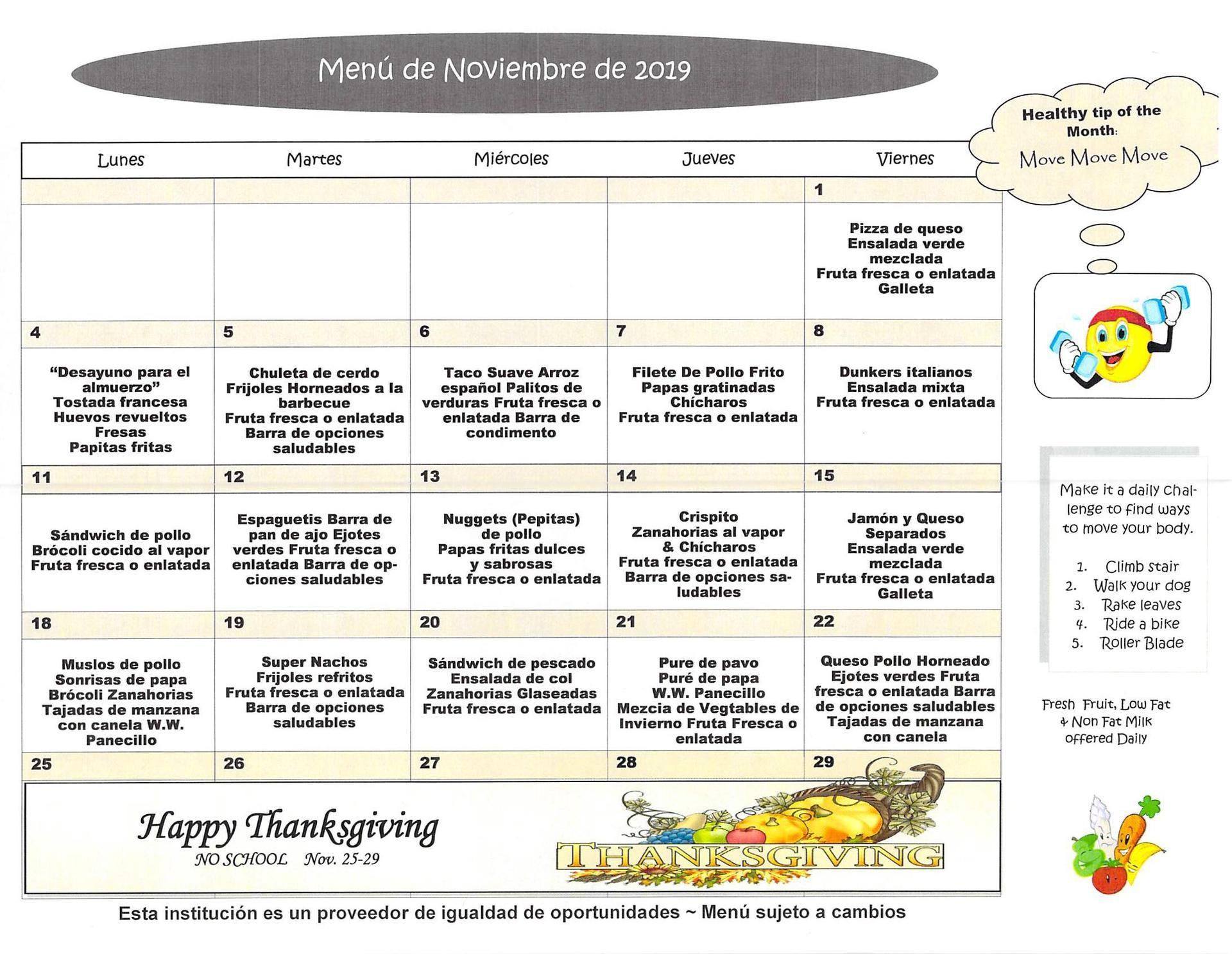 November 2019 Elementary Lunch Menu