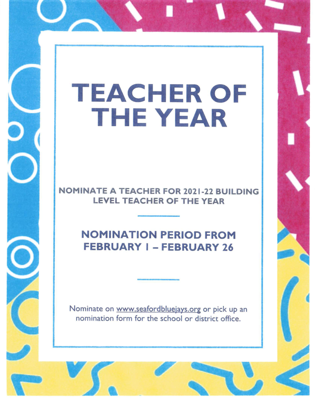 TEACHER OF THE YEAR NOMINATIONS Featured Photo