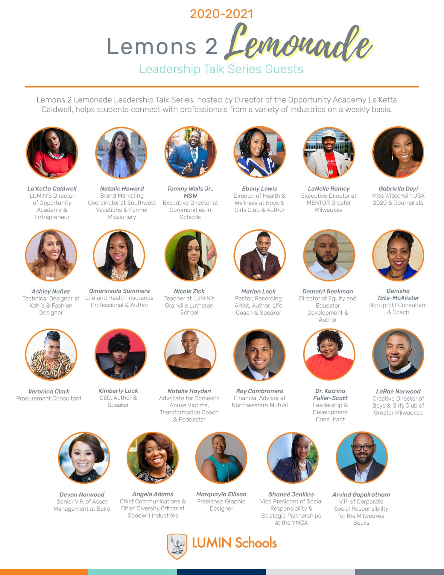 Lemons 2 Lemonade Leadership Series Guests 2020-2021