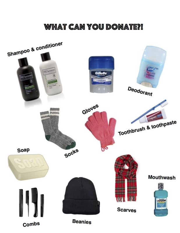 You can donate hats, socks, gloves, toiletries, and more!