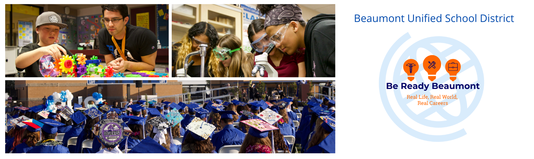 Student with teacher building gears. Students in Science class. Students with cap and gowns at graduation