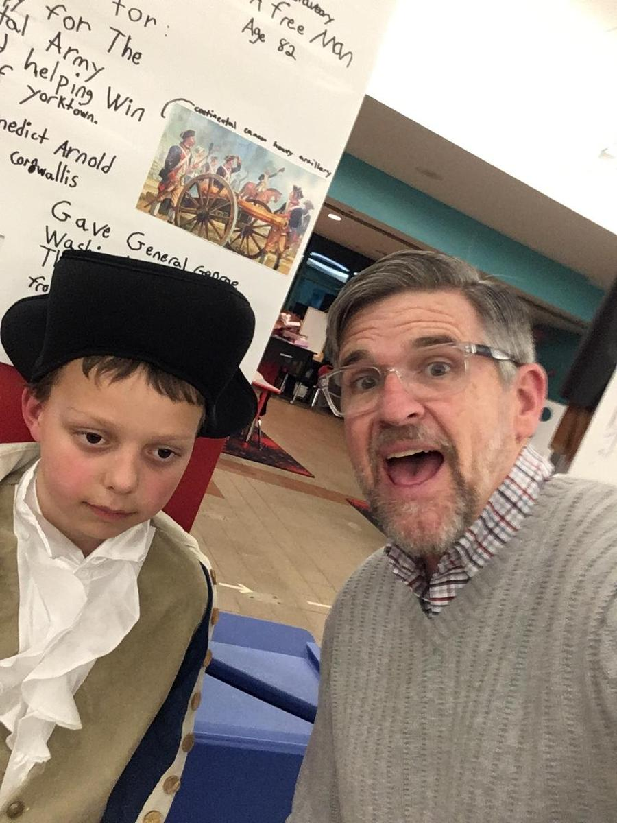 Mr. B. and a 3rd grader at the Black History Wax Museum