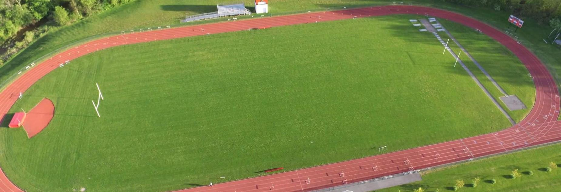 Arial view of football field